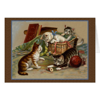 Tarjeta juguetona de los gatitos