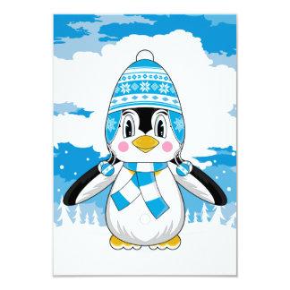 "Tarjeta lanosa de RSVP del pingüino del gorra Invitación 3.5"" X 5"""