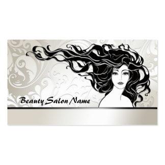 Tarjeta larga negra del salón de belleza de la muj tarjetas de visita