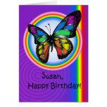 Tarjeta lesbiana gay de la mariposa del arco iris