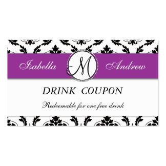 Tarjeta libre de la cupón de la bebida del boda pú tarjetas de visita