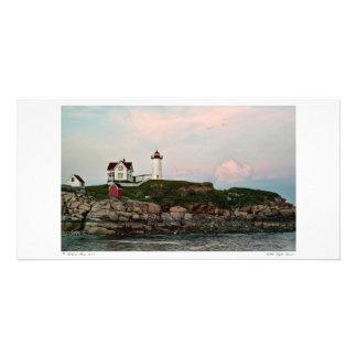 Tarjeta ligera de la foto de la puesta del sol de tarjetas fotograficas