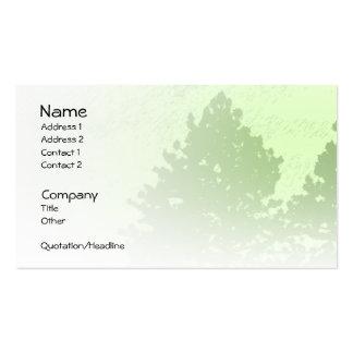 Tarjeta ligera del perfil de los árboles verdes tarjetas de visita