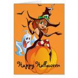 Tarjeta linda de Halloween de la bruja y del fanta