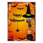Tarjeta linda de Halloween del Brew de la bruja y