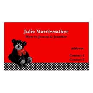 Tarjeta linda de la mamá del oso del lunar y de pe plantilla de tarjeta de visita