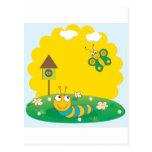 Tarjeta linda de la primavera con la oruga y la ma tarjeta postal