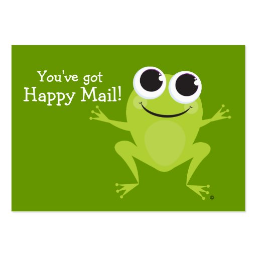 "¡Tarjeta linda de la rana del ""correo feliz"" - Tarjetas De Visita Grandes"