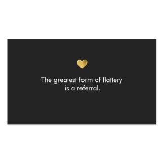 Tarjeta linda de la remisión del corazón del oro tarjetas de visita