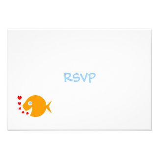 Tarjeta linda de RSVP del boda de playa con el Gol Invitación Personalizada