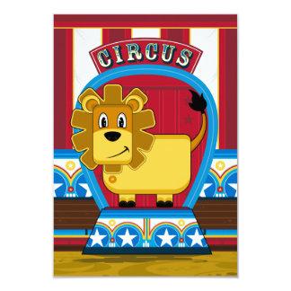 Tarjeta linda de RSVP del león del circo Invitación 8,9 X 12,7 Cm