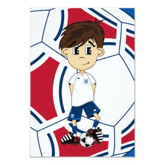 Tarjeta linda de RSVP del muchacho del fútbol de Invitación Personalizada
