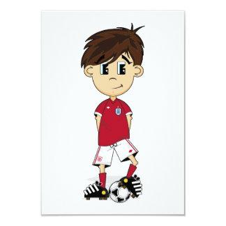 Tarjeta linda de RSVP del muchacho del fútbol de Invitaciones Personalizada