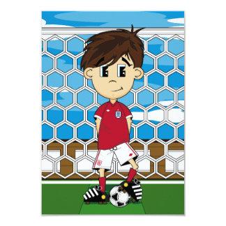 Tarjeta linda de RSVP del muchacho del fútbol de Comunicado