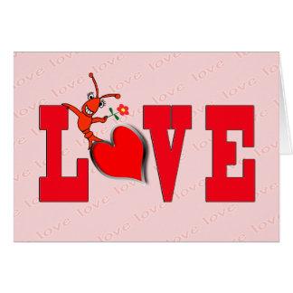 Tarjeta linda del amor de los cangrejos (langosta)