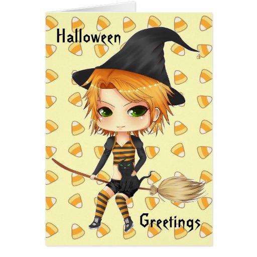 Tarjeta linda del chibi de la bruja de Halloween
