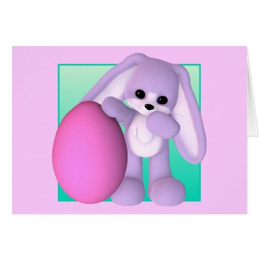 Tarjeta linda del conejito del huevo de Pascua