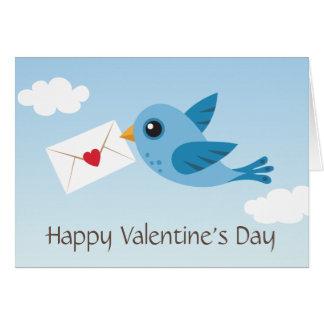 Tarjeta linda del día de San Valentín con el pájar