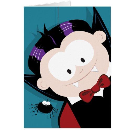 Tarjeta linda del feliz Halloween del vampiro y de