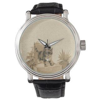 Tarjeta linda del francés de la antigüedad del relojes de pulsera