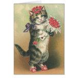 Tarjeta linda del gatito del vintage