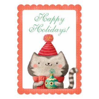 """Tarjeta linda del gato del navidad invitación 5"""" x 7"""""""