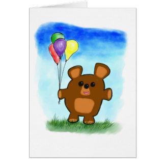 Tarjeta linda del oso del cumpleaños del dibujo an