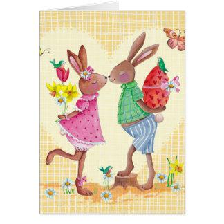 Tarjeta linda feliz de los conejitos el | pascua