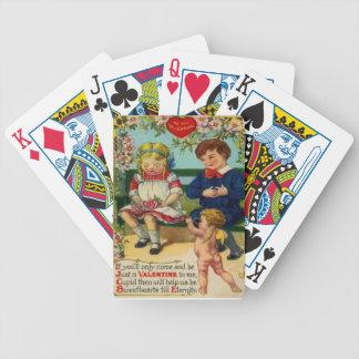 Tarjeta linda retra de la tarjeta del día de San V Baraja Cartas De Poker