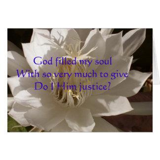 Tarjeta llenada dios del alma