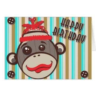 Tarjeta loca del mono del calcetín del feliz cumpl