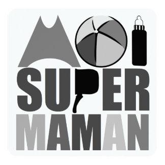 """Tarjeta """"Logotipo N&B"""" - mí Super Madre Invitación 5.25"""" X 5.25"""""""