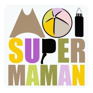 "Tarjeta ""Logotipo Natural"" - mí Super Madre Invitación 5.25"" X 5.25"""