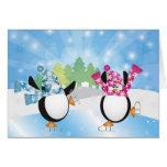Tarjeta los pingüinos del patinaje artístico