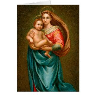 Tarjeta Madonna de las Felices Navidad y niño