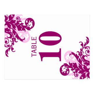 Tarjeta magenta del número de la tabla del postal