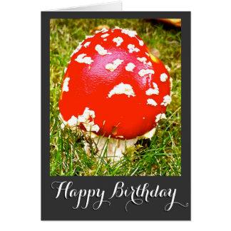 Tarjeta mágica del feliz cumpleaños de la seta