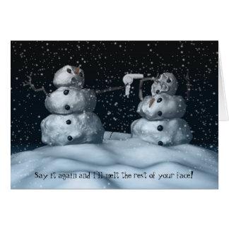 Tarjeta mala del muñeco de nieve