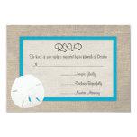 Tarjeta Malibu de RSVP del boda de playa del dólar Comunicado Personalizado