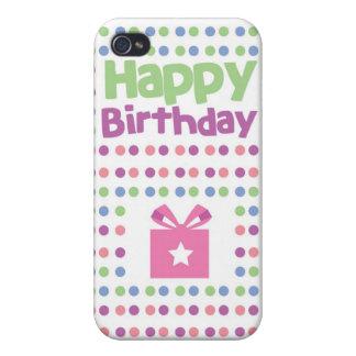 Tarjeta manchada del feliz cumpleaños iPhone 4 fundas