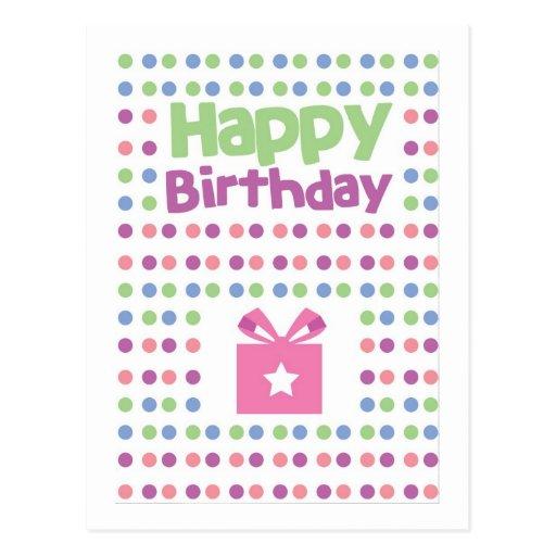 Tarjeta manchada del feliz cumpleaños postal