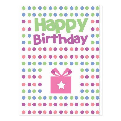 Tarjeta manchada del feliz cumpleaños tarjetas postales