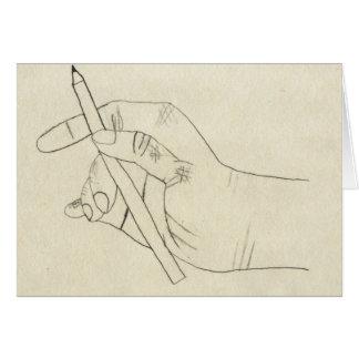 Tarjeta marcada con rayitas cruzadas de la mano