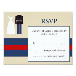 Tarjeta marina de RSVP de la invitación del boda