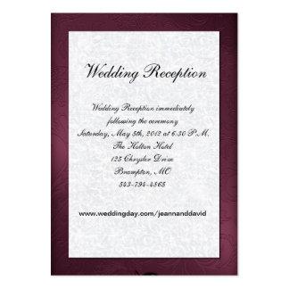 Tarjeta marrón y blanca del recinto del boda tarjetas de negocios