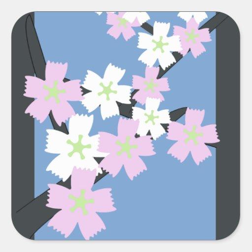 Tarjeta marzo de la flor de Hanafuda del japonés Calcomanías Cuadradas Personalizadas