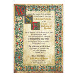 Tarjeta medieval de la invitación del boda del