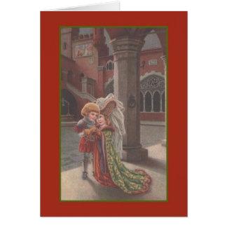 Tarjeta medieval del día de boda del vintage