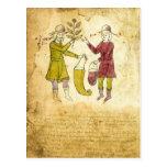 Tarjeta medieval del ejemplo del manuscrito del postales