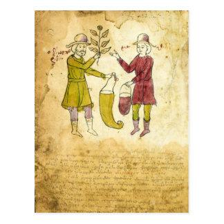 Tarjeta medieval del ejemplo del manuscrito del postal